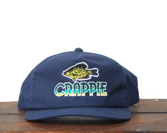 e5a8be0123540 Vintage Trucker Hat Snapback Hat Baseball Cap Crappie Fishing Fish Angler  Sportsman Seafood