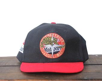1a14e013314 Vintage 90 s Marlboro Adventure Team Cigarettes Tobacco Trucker Hat  Strapback Baseball Cap