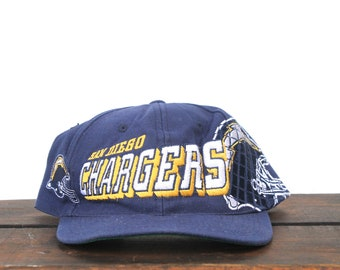 5aa03e15bc8d7 Vintage 90 s Distressed Sports Specialties Grid San Diego Chargers NFL  Football Snapback Hat Baseball Cap