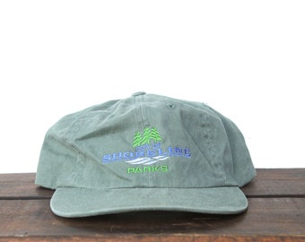 31b88f0260e Vintage 90 s City Of Shoreline Parks Outdoors Camping Hiking Pacific  Northwest Unstructured Strapback Hat Baseball Cap pxq