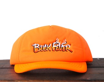 fd68557839727 Vintage Blaze Orange Buck Fever Hunting Trucker Hat Snapback Baseball Cap