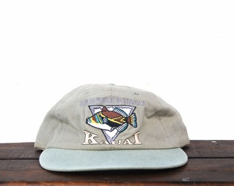 b8abe88c5c4e05 Vintage 90's Hat Cap Washed Out Humuhumunukunukuapua'a State Fish Kauai  Hawaii Beach Unstructured Long Brim Snapback Hat Baseball Cap