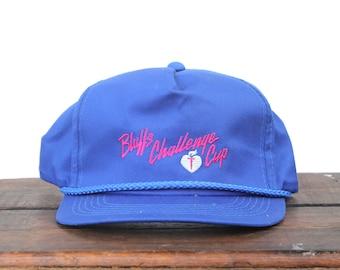 373f6bd7a3e Vintage Trucker Hat Snapback Hat Baseball Cap Bluffs Challenge Cup Running  Race xrz