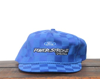 89628f8f941 Vintage Hat Cap Strapback Trucker Hat Baseball Cap Checkerboard Ford Power  Stroke Diesel Engines Pickup Truck F150