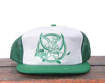 7259198f9ae7ec Vintage Team Melfort Hockey Team Angels Saskatchewan Canada Snapback  Trucker Hat Baseball Cap