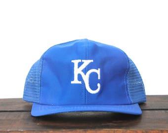 f0d9bc8749c92 Vintage 80 s KC Kansas City Royals Baseball MLB Snapback Trucker Hat  Baseball Cap