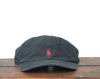 32b54304ea58d Vintage 90 s Polo Ralph Lauren Pony Logo Orange Unstructured Hat Strapback  Baseball Cap