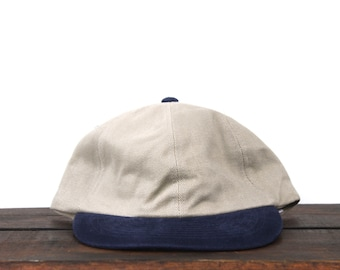 more photos a24c3 e2841 Vintage 90 s Blank Washed Out Beige Tan Khaki Navy Blue Brim Unstructured  Strapback Hat Baseball Cap