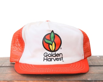0cbe97086e1 Vintage Golden Harvest Corn Seed Farmer Swingster Made In USA Trucker Hat  Snapback Baseball Cap