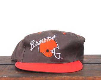 Vintage 90 s Deadstock New Cleveland Browns Football Helmet NFL Snapback Hat  Baseball Cap pxq f7898e7e188