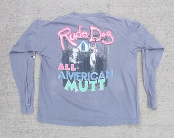 4f48a027e7715 Vintage Made In USA Rude Dog All American Mutt AMrican Gothic Parody Surf  Beach Gear California Surfing Long Sleeve Tee T Shirt Size Large