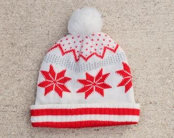 a3073467b91 Vintage Geometric Snowflake Pattern Pom Beanie Knit Ski Warm Winter Cuff Hat  Cap Toque