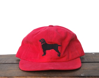 5762e9db42e Vintage 90 s Black Lab Labrador Dog Unstructured Strapback Hat Baseball Cap