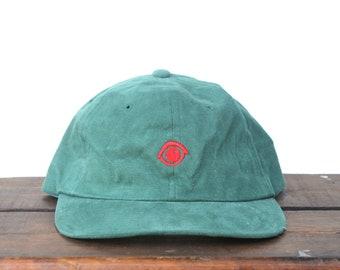 77355647b0974 Vintage 90 s Minimal Forest Green Eye Unstructured Strapback Hat Baseball  Cap