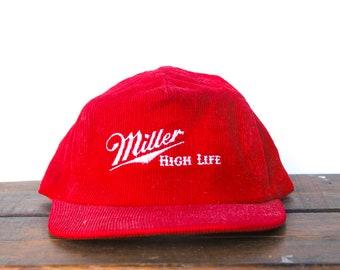 0274e1148180c Vintage 80 s Miller High Life Beer Lite Corduroy Trucker Hat Strapback  Baseball Cap