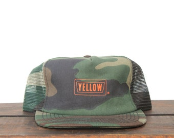 38d8c6b2e9857 Trucker Hat Vintage Snapback Hat Baseball Cap Yellow Trucking Lines Camo  Camouflage Hunting Made In USA