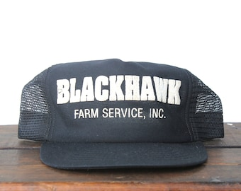 a89d128034a Vintage Distressed Blackhawk Farm Service Seed Corn Farmer Made In USA  Trucker Hat Snapback Baseball Cap