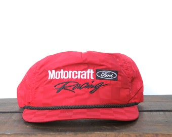 c13a1d08e78 Vintage Motorcraft Quality Auto Parts Ford OEM Racing Checkerboard Trucker  Hat Snapback Baseball Cap