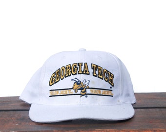 505f2924f7b Vintage 90 s Georgia Tech Yellow Jackets Football University College School Sports  NCAA Snapback Hat Baseball Cap