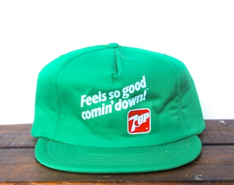 Vintage 80 s 7UP Citrus Soda Pop Drink Pepsi Feels So Good Comin  Down  Snapback Trucker Hat Baseball Cap Made In USA 9a60e1a30039