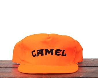 1230223df3e05 Vintage Trucker Hat Snapback Hat Baseball Cap Camel Cigarettes Tobacco Joe  Camel Blaze Hunter Orange