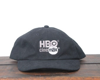 7a5295ffc4e Vintage 90 s HBO Cinemax Movies TV Channel Cable Television Unstructured Strapback  Hat Baseball Cap