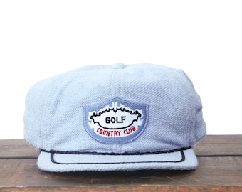 01550ee784aa7 Trucker Hat Vintage Snapback Hat Baseball Cap Deadstock Blue Terrycloth Golf  Country Club Course Fairway Green xrz