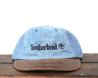 Vintage 90 s Timberland Boots Denim   Leather Unstructured Strapback Hat  Baseball Cap ef069666c705