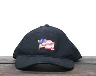 3b18e885c8c1b Vintage 90 s Hat Cap Strapback Hat Baseball Cap Minimal Dad U.S.A. America  American Flag Stars And Stripes
