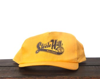 584cfbb280f Trucker Hat Vintage Snapback Hat Baseball Cap Steele Hill Bulldogs School  Sports Team