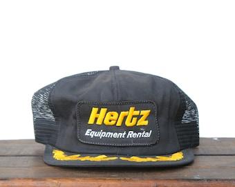 28120ec216ac1 Vintage Hertz Equipment Rental Construction Car Trucker Hat Snapback  Baseball Cap K Brand Made In USA Patch
