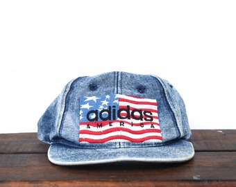 f032bb033ca55 Vintage Rare 90 s Adidas America Acid Wash Denim Jean Trefoil Athletic  Clothing Snapback Hat Baseball Cap