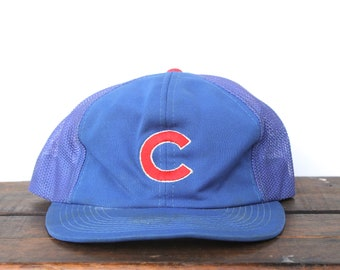 af46aaf5a ... netherlands vintage 80s distressed chicago cubs mlb snapback trucker hat  baseball cap 6669b 6fc12