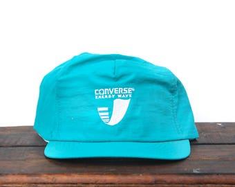 62fec956665df Trucker Hat Vintage Snapback Hat Baseball Cap 80 s Converse Energy Wave  Sneakers Kicks Shoes Teal Turquoise