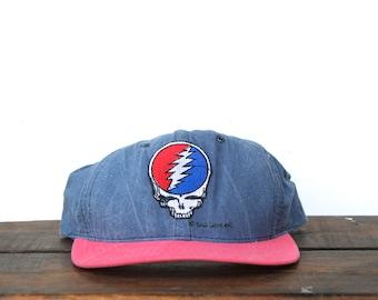 5bbe17f43d98b Vintage 90 s Snapback Hat Baseball Cap Grateful Dead Steal Your Face Jerry  Garcia Jam Band Music Concert Show Deadhead