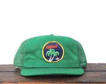 f600ee347f962a Trucker Hat Vintage Snapback Hat Baseball Cap Hawaii Palm Trees Travel  Island Ocean Beach Patch
