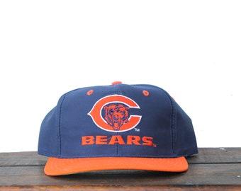 d034a8e903317 Vintage 90 s Chicago Bears Football NFL Hat Snapback Baseball Cap