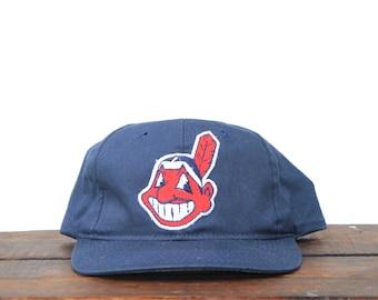 52695682ae4 Vintage 90 s Cleveland Indians MLB Snapback Hat Baseball Cap