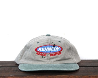 13d1f22a Vintage 90's Washed Out Kennedy Space Center Florida Rocket Shuttle Launch  NASA Unstructured Strapback Hat Baseball Cap