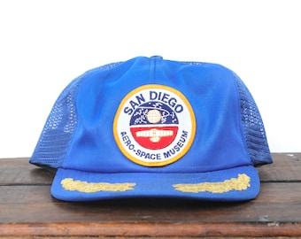 6c1beb9e0ef71 Vintage Trucker Hat Snapback Hat Baseball Cap 80 s Made In USA San Diego  Aerospace Museum Space Center NASA Rocket Shuttle