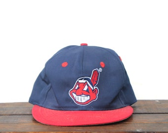 huge discount e4429 c1448 Vintage 90 s Cleveland Indians MLB Ohio Snapback Hat Baseball Cap