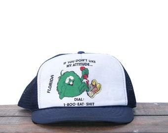 810c23de84299c Vintage Rude Fuzzball If You Don't Like My Attitude Dial 1-800-EAT-SHIT  Funny Humor Snapback Trucker Hat Baseball Cap