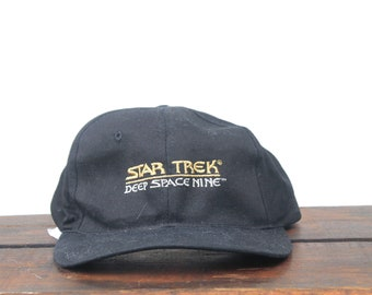 4414b7e459d Vintage 90 s Hat Cap Distressed Star Trek Deep Space Nine TV Television  Show Star Fleet Academy Snapback Hat Baseball Cap