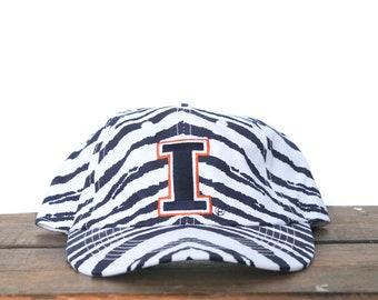507422ae53fc5 Vintage 90 s University Of Illinois Fighting Illini Football Zubaz Zebra  Stripe Snapback Hat Baseball Cap