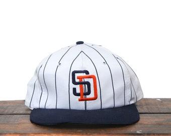6e585f72d Vintage 80's Pinstripe San Diego Padres MLB Trucker Hat Snapback Baseball  Cap