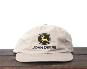 32ee983d84e Vintage 90 s John Deere Tractors Farming Coastline Equipment Unstructured  Strapback Hat Baseball Cap