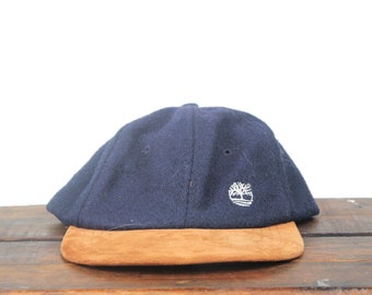 0d257786adb Vintage 90 s Timberland Boots Wool   Leather Unstructured Strapback Hat  Baseball Cap