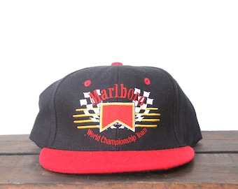 632c6dc3d9c Vintage Marlboro Cigarettes Tobacco World Championship Team Racing Trucker  Hat Strapback Baseball Cap Patch