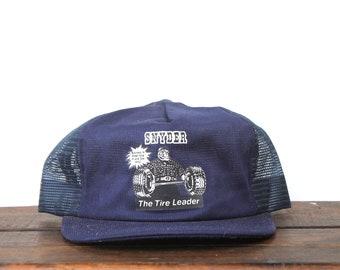 35722980dfce7 Vintage Trucker Hat Snapback Hat Baseball Cap Snyder Tire Lumberjack  Strongman Tire Barbell Weightlifter USA Made