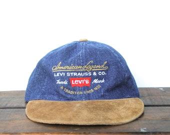 77606b617d9e0c Vintage 90's Denim Hat Cap Unstructured Strapback Hat Baseball Cap Levi's  Levi Strauss & Co Jeans